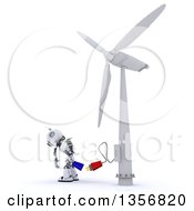 Clipart Of A 3d Futuristic Robot Charging At A Windmill On A Shaded White Background Royalty Free Illustration by KJ Pargeter