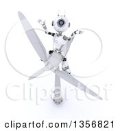 Poster, Art Print Of 3d Futuristic Robot Sitting On Top Of A Wind Turbine On A Shaded White Background