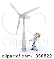 Poster, Art Print Of 3d Futuristic Robot Looking Up At A Wind Turbine On A Shaded White Background