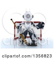 Clipart Of A 3d Futuristic Robot Ice Hockey Goalie On A Shaded White Background Royalty Free Illustration