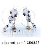 Clipart Of 3d Futuristic Robots Playing Ice Hockey On A Shaded White Background Royalty Free Illustration