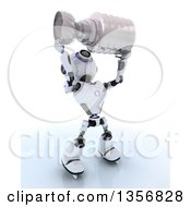 Clipart Of A 3d Futuristic Robot Ice Hockey Champ Holding A Trophy On A Shaded White Background Royalty Free Illustration by KJ Pargeter