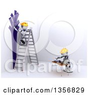 3d Futuristic Robots Painting An Interior On A Shaded White Background