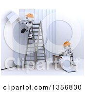 3d Futuristic Robot Workers Installing Wallpaper On A Shaded White Background