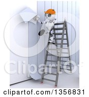 Clipart Of A 3d Futuristic Robot Worker Installing Wallpaper On A Shaded White Background Royalty Free Illustration by KJ Pargeter