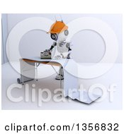 Clipart Of A 3d Futuristic Robot Preparing Wallpaper On A Shaded White Background Royalty Free Illustration by KJ Pargeter
