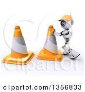 Clipart Of A 3d Futuristic Robot Construction Worker Moving Giant Cones On A Shaded White Background Royalty Free Illustration