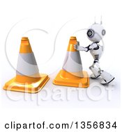 Clipart Of A 3d Futuristic Robot Moving Giant Cones On A Shaded White Background Royalty Free Illustration