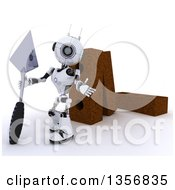 3d Futuristic Robot Mason Holding A Trowel And Presenting By Giant Bricks On A Shaded White Background