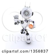 Clipart Of A 3d Futuristic Robot Playing American Football On A Shaded White Background Royalty Free Illustration by KJ Pargeter
