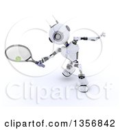Clipart Of A 3d Futuristic Robot Playing Tennis On A Shaded White Background Royalty Free Illustration