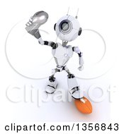 Clipart Of A 3d Futuristic Robot American Football Player Holding Up A Trophy On A Shaded White Background Royalty Free Illustration by KJ Pargeter