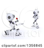 Clipart Of A 3d Futuristic Robot Giving A Rose To His Love On A Shaded White Background Royalty Free Illustration