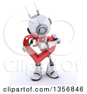 Clipart Of A 3d Futuristic Robot Hugging A Red Heart On A Shaded White Background Royalty Free Illustration