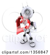 3d Futuristic Robot Holding A Red Heart On A Shaded White Background