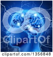 Clipart Of A 3d Profiled Head And Human Brain Sparking And Being Struck With Lightning Bolts Over Blue Royalty Free Illustration