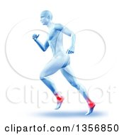 Clipart Of A 3d Blue Anatomical Man Running With Glowing Ankle Joints On White Royalty Free Illustration
