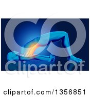 Clipart Of A 3d Anatomical Man Stretching On The Floor With Visible Glowing Spine On Blue Royalty Free Illustration