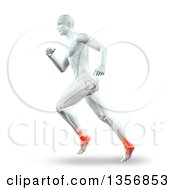 Clipart Of A 3d Anatomical Man With Visible Leg Bones Running With Glowing Ankle Joints On White Royalty Free Illustration