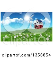 Clipart Of A 3d Rural House With A Windmill On A Green Hill With Daisies Royalty Free Illustration by KJ Pargeter