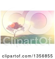 Clipart Of A 3d Tree On A Grassy Hill With Retro Flares Royalty Free Illustration