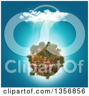 Clipart Of A 3d Rainbow And Rain Over A Rocky Planet Royalty Free Illustration by KJ Pargeter