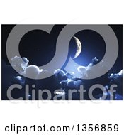 Clipart Of A 3d Crescent Moon Above The Clouds At Night Royalty Free Illustration