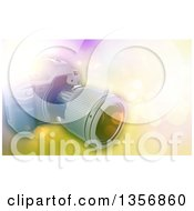 Clipart Of A 3d Digital Camera Over A Bokeh Flare Background Royalty Free Illustration