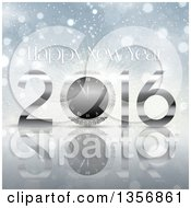Clipart Of A Happy New Year 2016 Greeting Over Flares And A Reflective Surface Royalty Free Vector Illustration