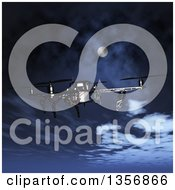 Clipart Of A 3d Metal Quadcopter Drone Flying Over A Night Sky Royalty Free Illustration by KJ Pargeter