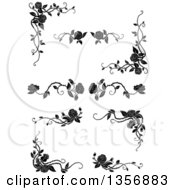 Clipart Of Black And White Corner Floral Rose Vine Border Design Elements Royalty Free Vector Illustration