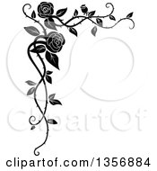 Clipart Of A Black And White Corner Floral Rose Vine Border Design Element Royalty Free Vector Illustration by Vector Tradition SM