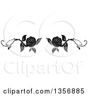 Black And White Floral Rose Vine Border Design Element