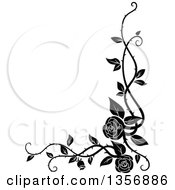 Clipart Of A Black And White Corner Floral Rose Vine Border Design Element Royalty Free Vector Illustration by Seamartini Graphics