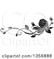 Clipart Of A Black And White Floral Rose Vine Border Design Element Royalty Free Vector Illustration