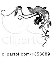 Clipart Of A Black And White Corner Floral Rose Vine Border Design Element Royalty Free Vector Illustration