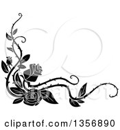 Black And White Corner Floral Rose Vine Border Design Element