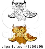 Clipart Of Brown And Black And White Owls Royalty Free Vector Illustration