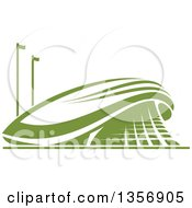 Clipart Of A Green Sports Stadium Arena Building Royalty Free Vector Illustration