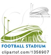Clipart Of Gray And Green Sports Stadium Arena Buildings With Text Royalty Free Vector Illustration