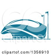 Clipart Of A Teal Sports Stadium Arena Building Royalty Free Vector Illustration