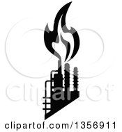 Clipart Of Black And White Silhouetted Natural Gas And Flame Factory Royalty Free Vector Illustration