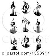 Black And White Silhouetted Natural Gas And Flame Factory Designs