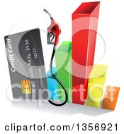 Clipart Of A Gray Gas Pump Credit Card Over A 3d Colorful Bar Graph Royalty Free Vector Illustration by Vector Tradition SM