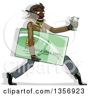 Clipart Of A Black Male Hacker Identity Thief Carrying A Credit Card And Cash Royalty Free Vector Illustration