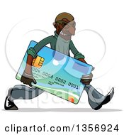 Clipart Of A Black Male Hacker Identity Thief Carrying A Credit Card Royalty Free Vector Illustration