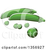Clipart Of Cartoon Peas And Pods Royalty Free Vector Illustration