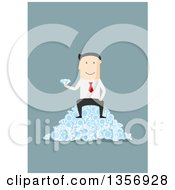 Clipart Of A Flat Design White Businessman Sitting On A Pile Of Diamonds On Blue Royalty Free Vector Illustration by Vector Tradition SM