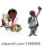 Clipart Of Cartoon Rich Black Businessmen Holding Cash Bundles Royalty Free Vector Illustration