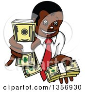 Clipart Of A Cartoon Rich Black Businessman Holding Up Cash Bundles Royalty Free Vector Illustration by Vector Tradition SM